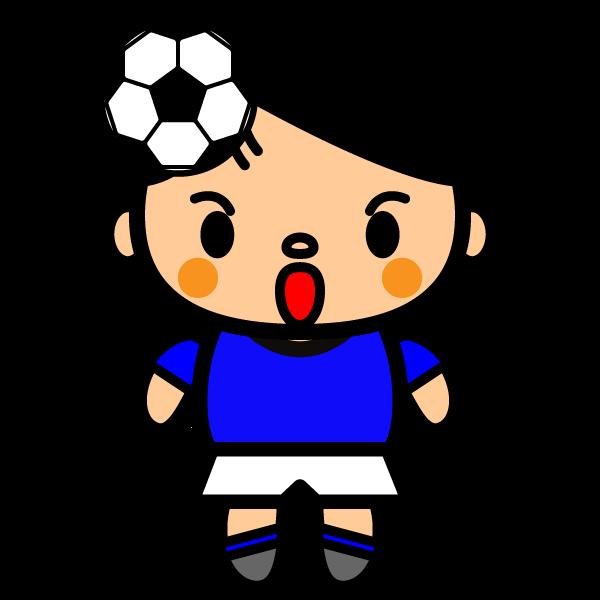 かわいいサッカーヘディングの無料イラスト・商用フリー