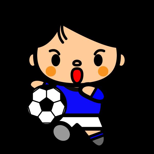 かわいいサッカーシュートの無料イラスト・商用フリー