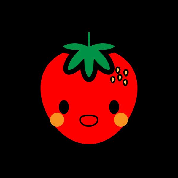 キャラクター風で笑顔のかわいいイチゴの無料イラスト・商用フリー