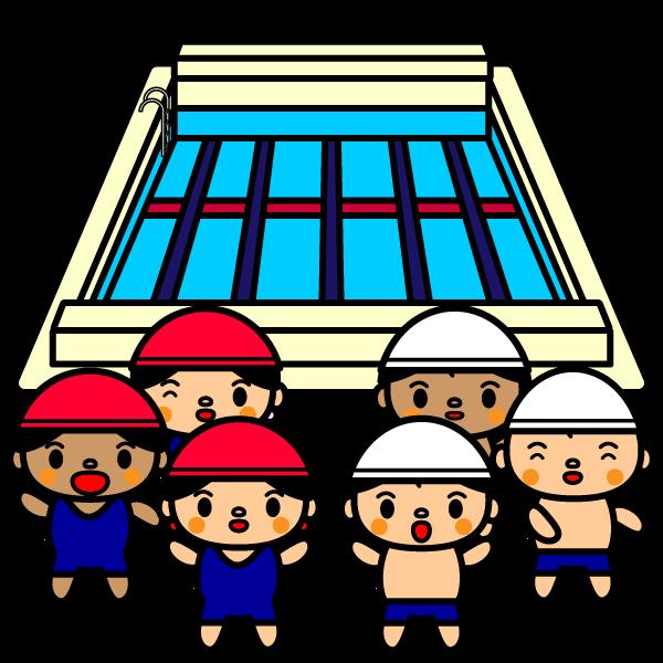 かわいい夏休みのプールの無料イラスト・商用フリー