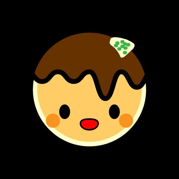 キャラクター風で笑顔のかわいいたこ焼きの無料イラスト・商用フリー