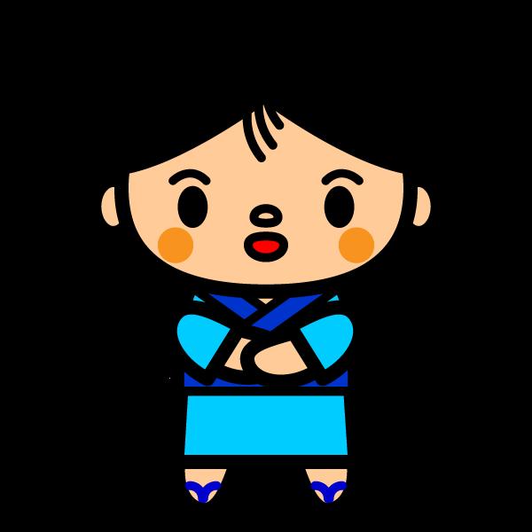 かわいい浴衣姿の男の子の無料イラスト・商用フリー