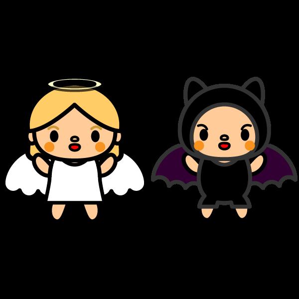 かわいい天使と悪魔の無料イラスト・商用フリー