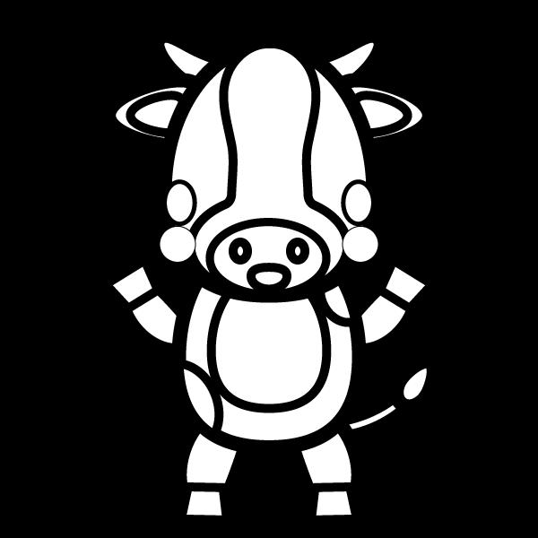 塗り絵に最適な白黒でかわいい乳牛の無料イラスト・商用フリー
