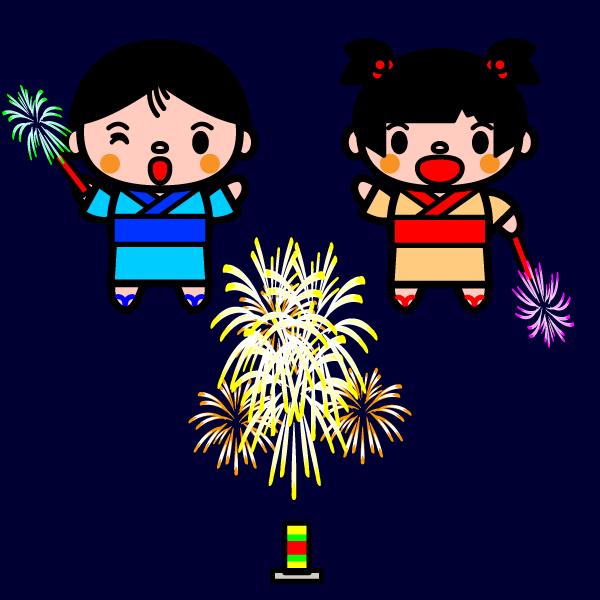 かわいい夏の花火の無料イラスト・商用フリー