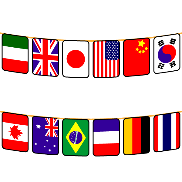かわいい万国旗の無料イラスト・商用フリー