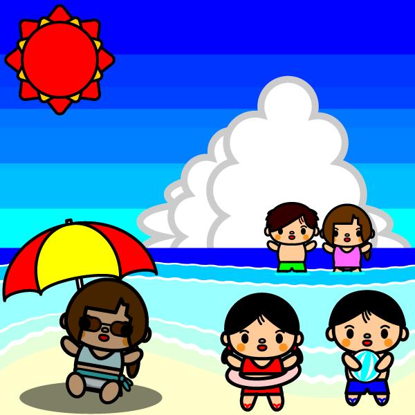かわいい海水浴の無料イラスト・商用フリー