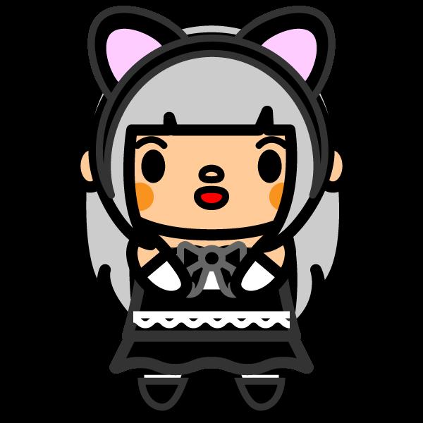 かわいい猫耳女の子の無料イラスト・商用フリー