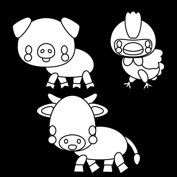 塗り絵に最適な白黒でかわいい牛、豚、鶏の無料イラスト・商用フリー