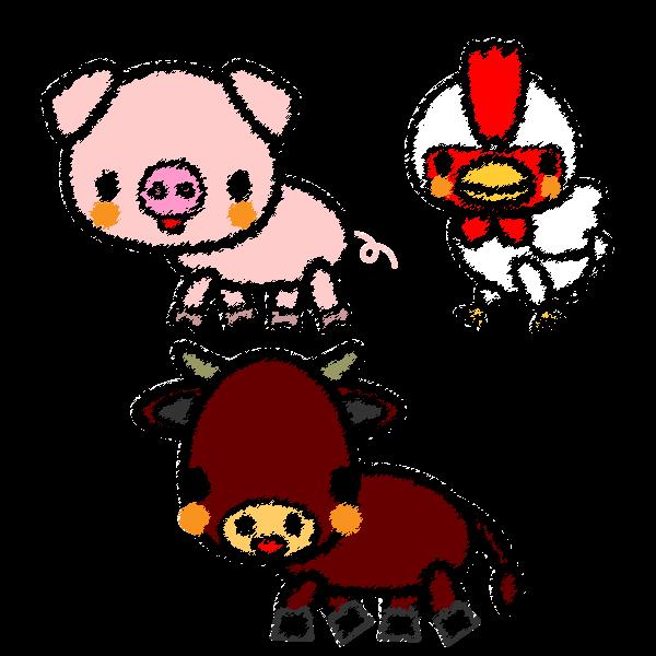 手書き風でかわいい牛、豚、鶏の無料イラスト・商用フリー