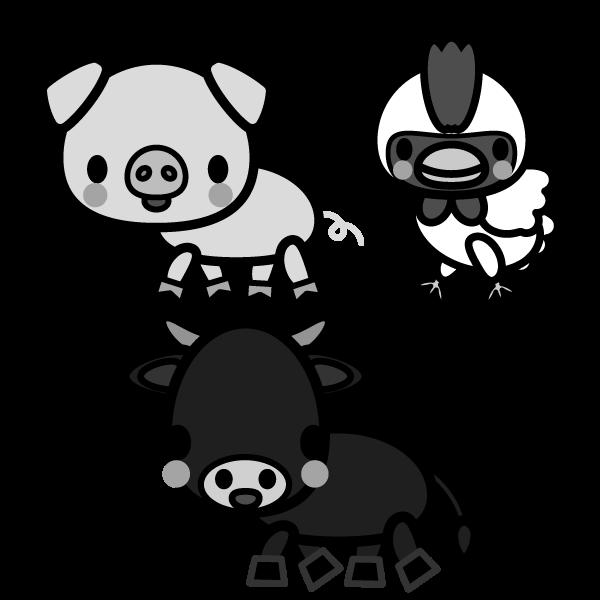 モノクロでかわいい牛、豚、鶏の無料イラスト・商用フリー