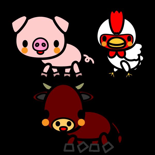 かわいい牛、豚、鶏の無料イラスト・商用フリー