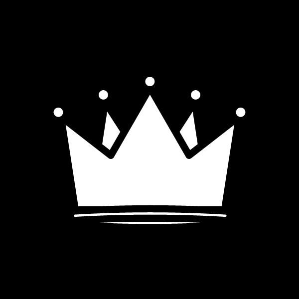 塗り絵に最適な白黒でかわいい王冠の無料イラスト・商用フリー