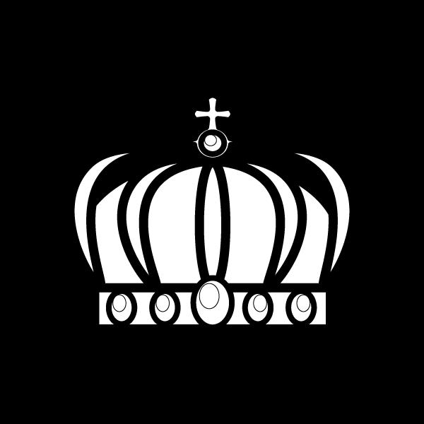 塗り絵に最適な白黒でかわいい王冠2の無料イラスト・商用フリー