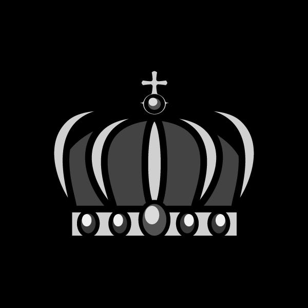 モノクロでかわいい王冠2の無料イラスト・商用フリー