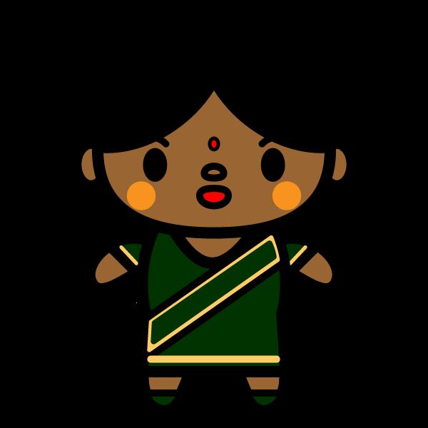 かわいいインド人女性の無料イラスト・商用フリー