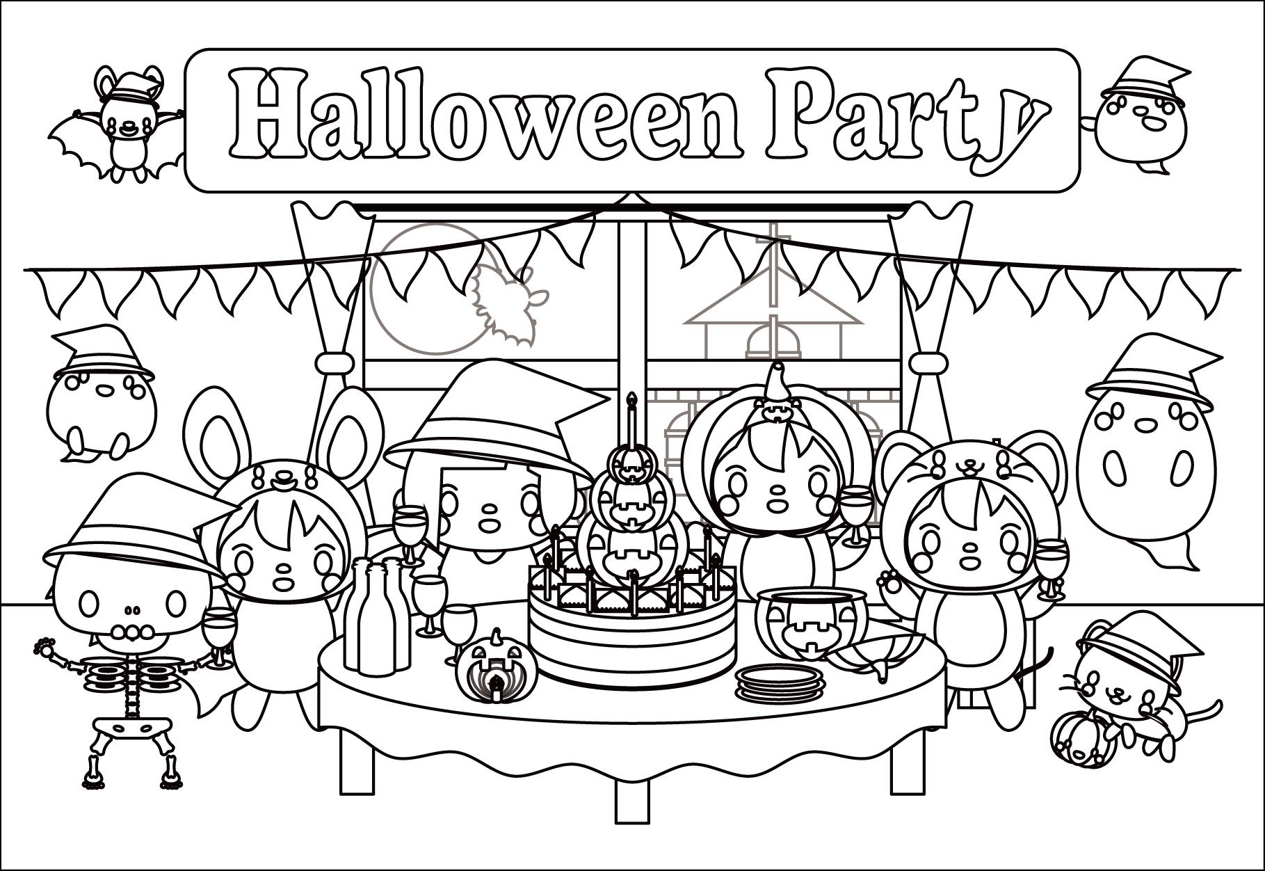 可愛いハロウィンパーティー・メッセージカード2(白黒・塗り絵)