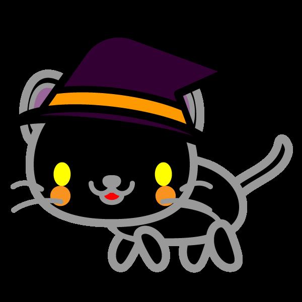 かわいいハロウィンの黒猫の無料イラスト・商用フリー