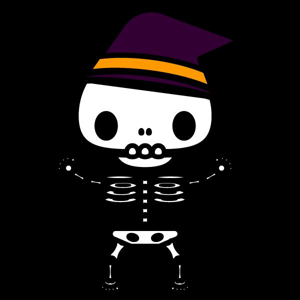 かわいいハロウィンの骸骨の無料イラスト・商用フリー