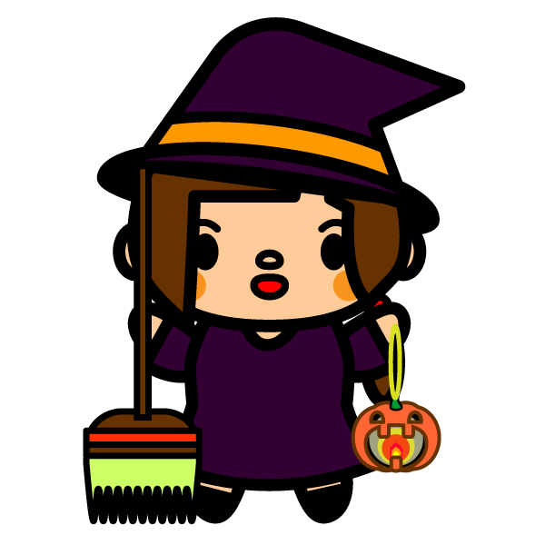 かわいいハロウィンの魔女の無料イラスト・商用フリー