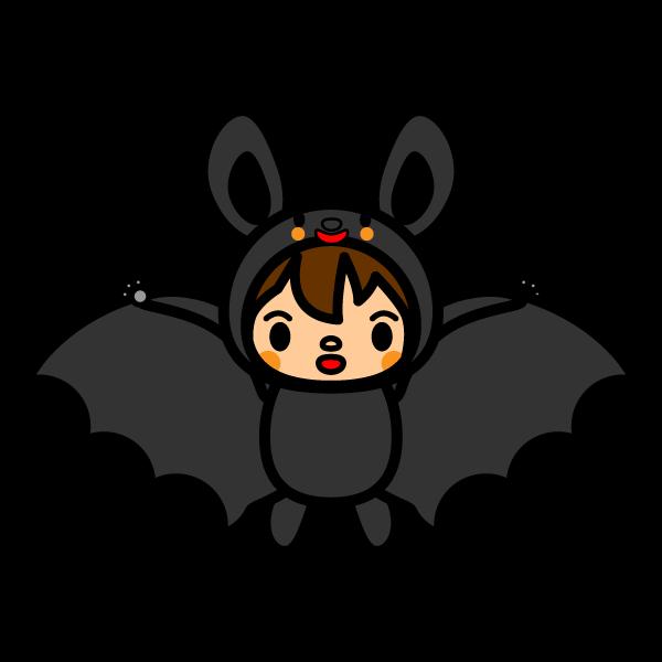 かわいいコウモリの着ぐるみの無料イラスト・商用フリー