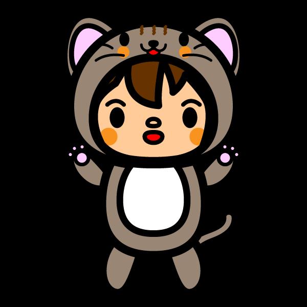 かわいい猫の着ぐるみの無料イラスト・商用フリー