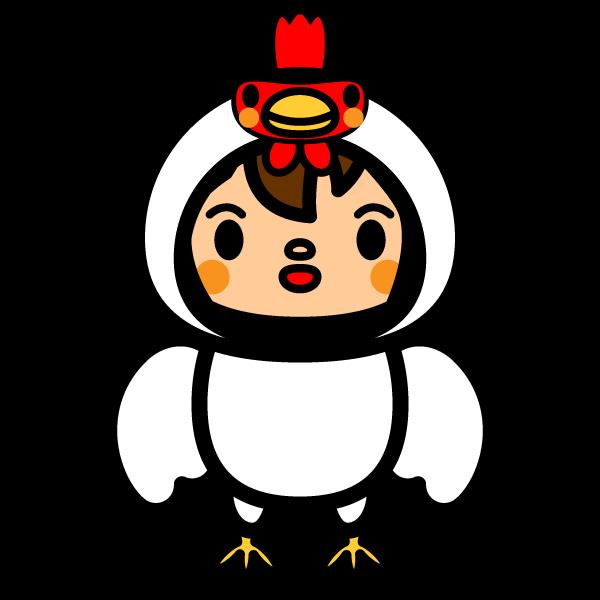 かわいい鶏の着ぐるみの無料イラスト・商用フリー