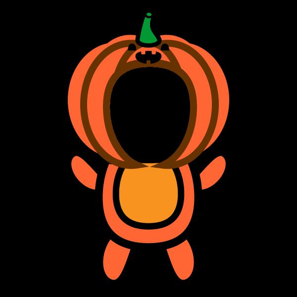 かわいいハロウィンかぼちゃの着ぐるみ(写真合成)の無料イラスト・商用フリー
