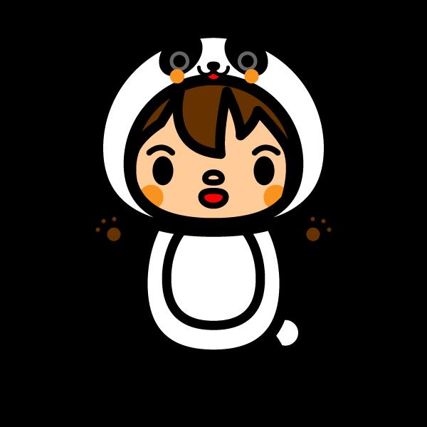 かわいいパンダの着ぐるみの無料イラスト・商用フリー