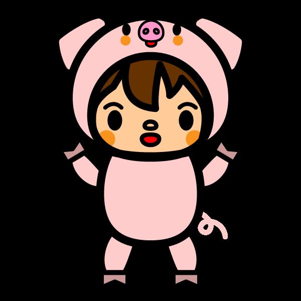 かわいい豚の着ぐるみの無料イラスト・商用フリー