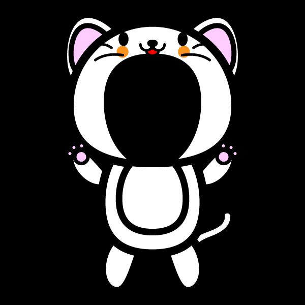 かわいい白猫の着ぐるみ(写真合成)の無料イラスト・商用フリー