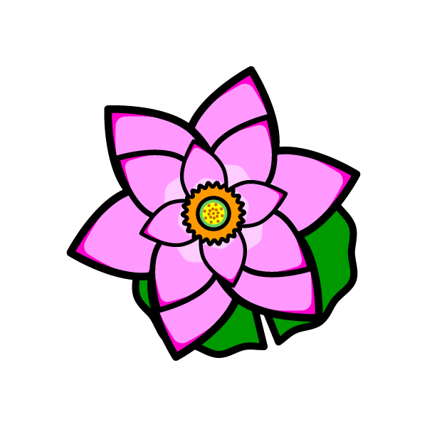 かわいい蓮の花の無料イラスト・商用フリー