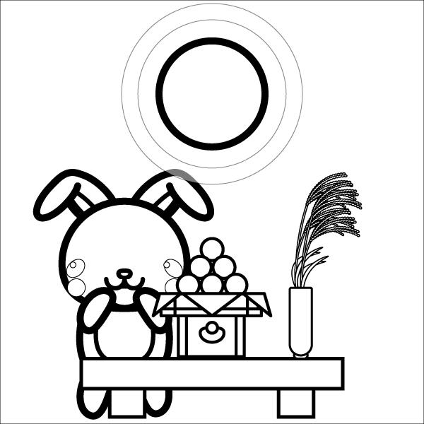 moon-viewing_rabbit-blackwhite