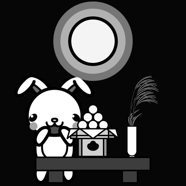moon-viewing_rabbit-monochrome
