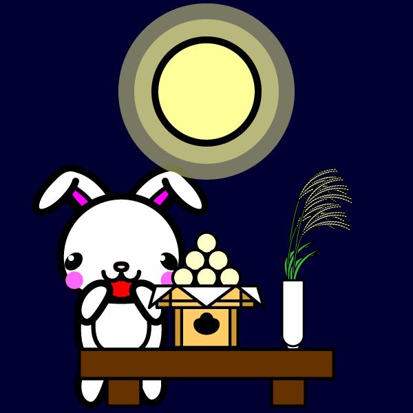 かわいい月見とうさぎの無料イラスト・商用フリー