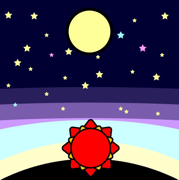 かわいい月と太陽と星の無料イラスト・商用フリー