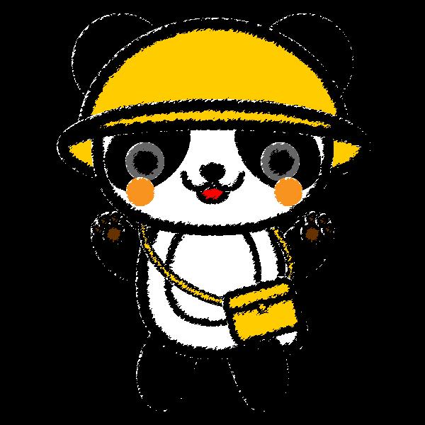手書き風でかわいい保育、幼稚園児パンダの無料イラスト・商用フリー