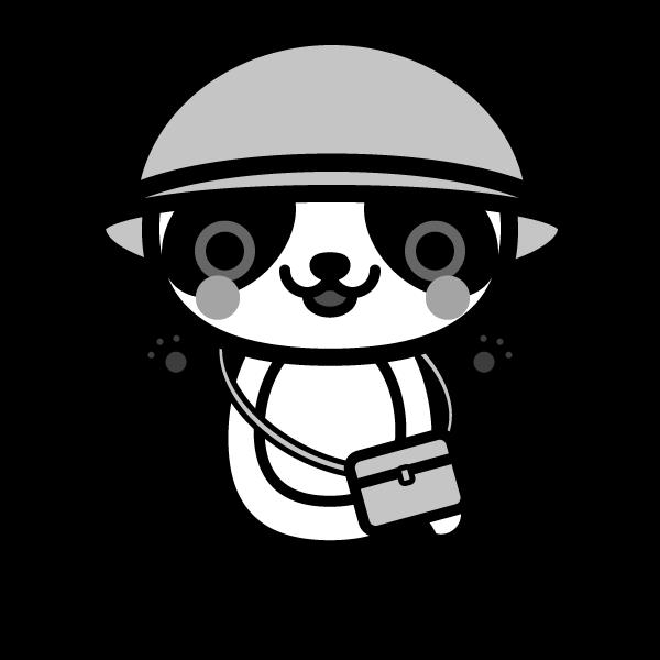 モノクロでかわいい保育、幼稚園児パンダの無料イラスト・商用フリー