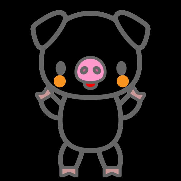 かわいい黒豚の無料イラスト・商用フリー