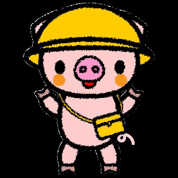 手書き風でかわいい保育、幼稚園児豚の無料イラスト・商用フリー