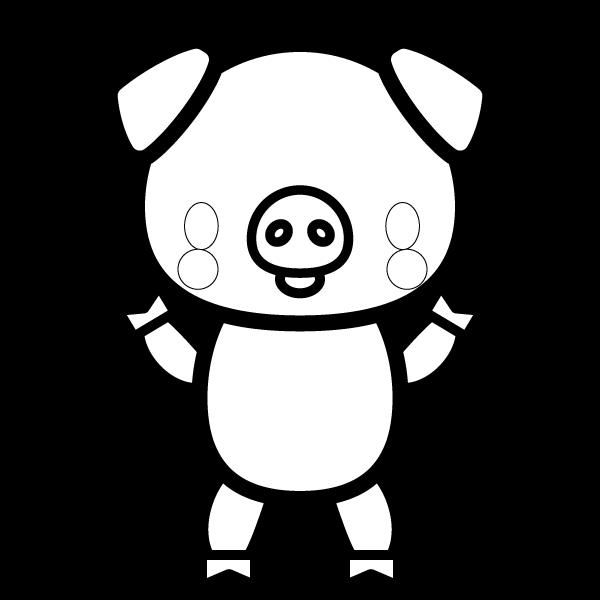 塗り絵に最適な白黒でかわいい豚の無料イラスト・商用フリー