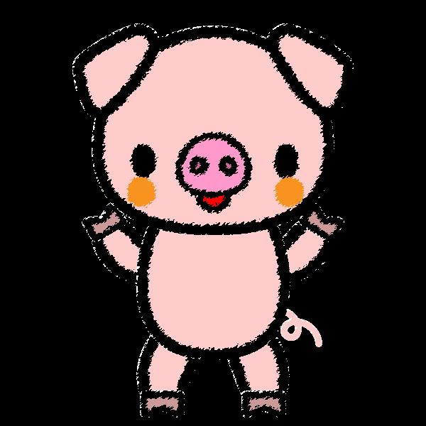 手書き風でかわいい豚の無料イラスト・商用フリー