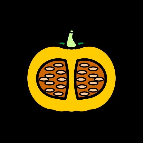 かわいい半分に切ったかぼちゃの無料イラスト・商用フリー