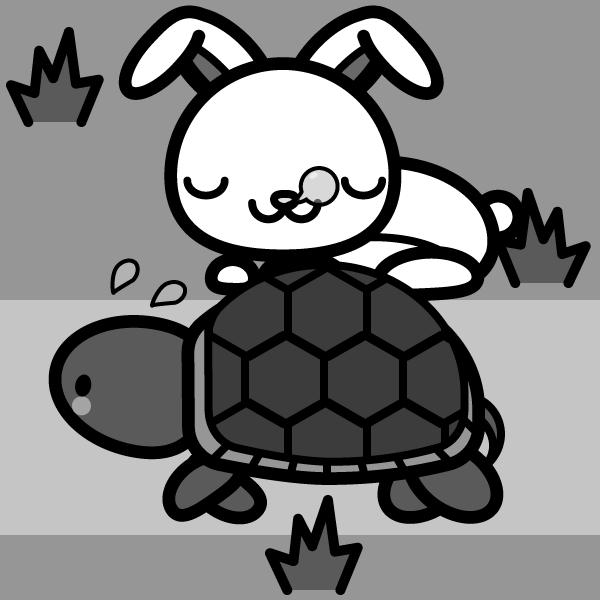 rabbit_tortoise-monochrome