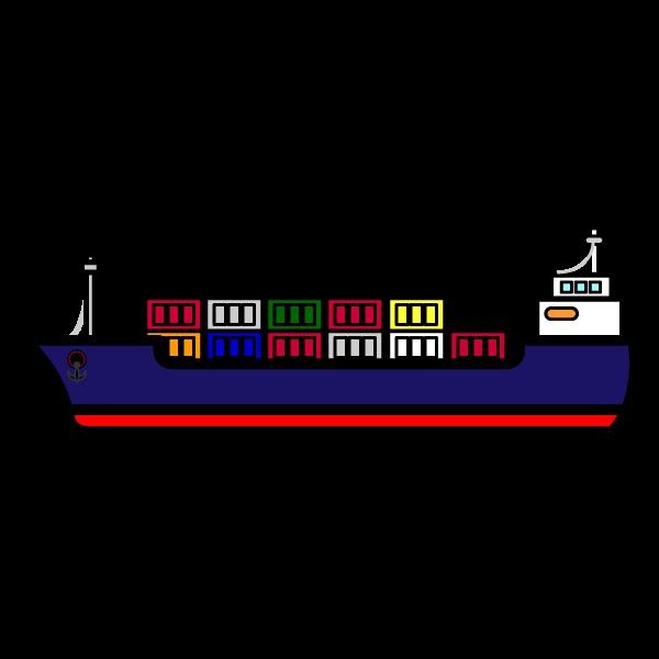 かわいいコンテナ船の無料イラスト・商用フリー