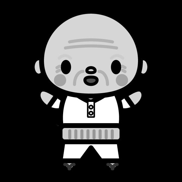 suteteko-grandfather_01-monochrome