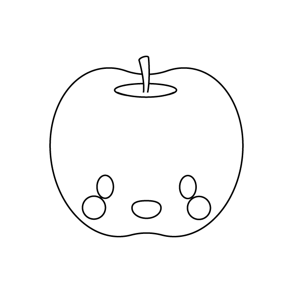 笑顔の可愛いりんご(キャラクター風)(白黒・塗り絵)