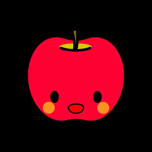 キャラクター風で笑顔のかわいいりんごの無料イラスト・商用フリー