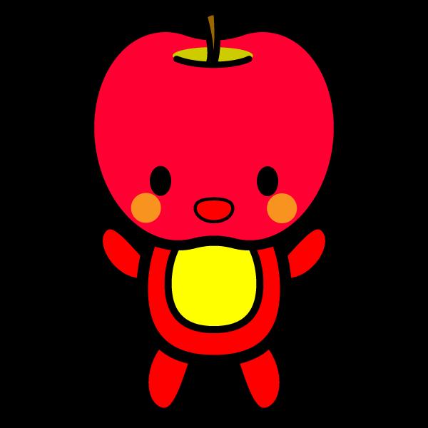 キャラクター風で笑顔のかわいいりんご(全身)の無料イラスト・商用フリー