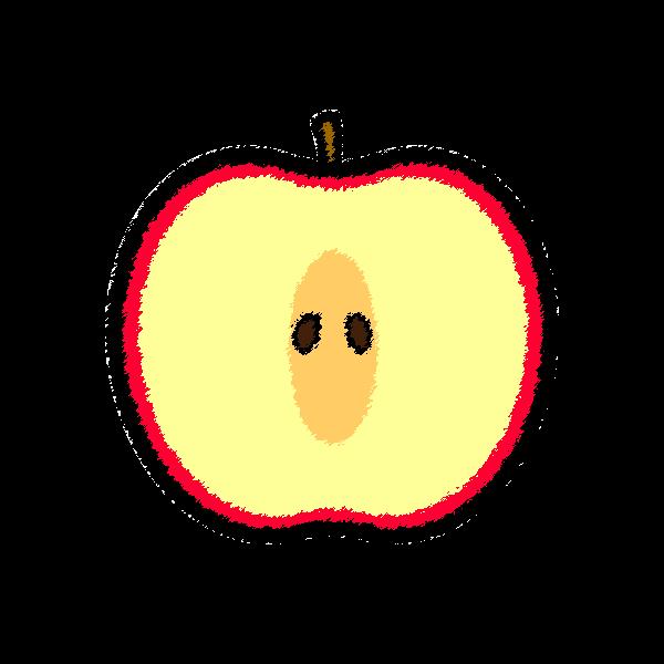 手書き風でかわいい半分に切ったりんごの無料イラスト・商用フリー